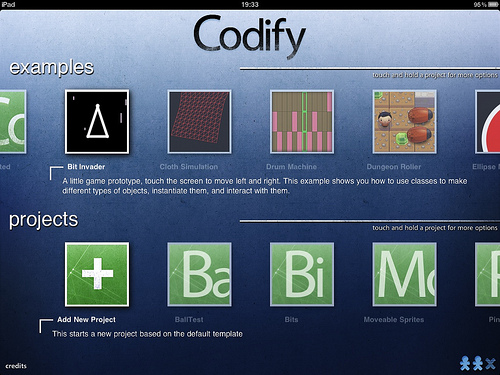 Codify project selection screen
